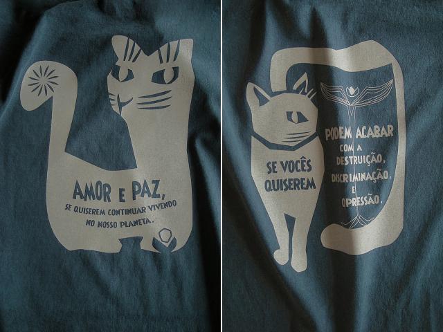 AMOR e PAZ Tシャツ-地球に住み続けるなら愛と平和を-hinolismo-迷えるアイミドリ