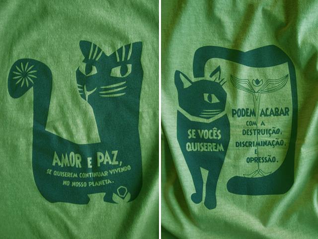 AMOR e PAZ Tシャツ-地球に住み続けるなら愛と平和を-hinolismo-迷えるライムグリーン