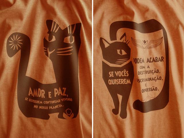 AMOR e PAZ Tシャツ-地球に住み続けるなら愛と平和を-hinolismo迷えるTシャツ-マリゴールド