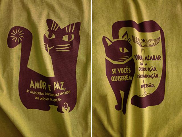 hinolismo迷えるTシャツ-マスタード-AMOR e PAZ-地球に住み続けるなら愛と平和を