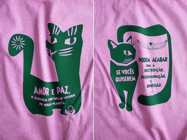 AMOR e PAZ Tシャツ-地球に住み続けるなら愛と平和を-hinolismo-迷えるピンク