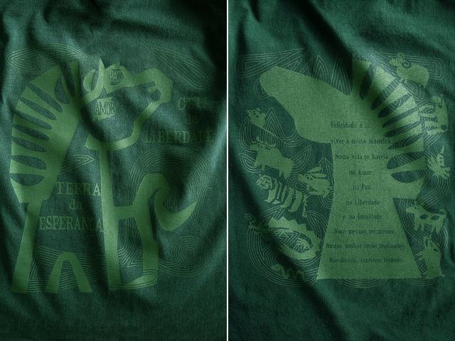 平和と自由を愛するCAVALO(馬)Tシャツ-hinolismo-迷えるグリーン