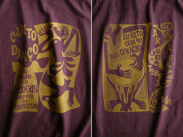 コラサォン(魂)とアルコイリス(虹)Tシャツ-hinolismo-迷えるボルドー