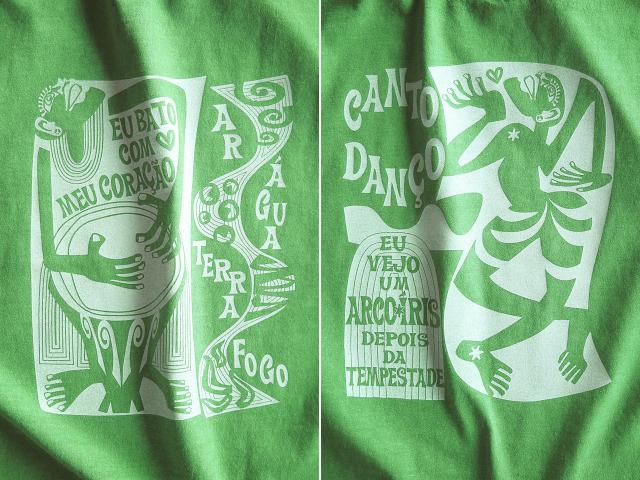 コラサォン(魂)とアルコイリス(虹)Tシャツ-hinolismo-迷えるライムグリーン