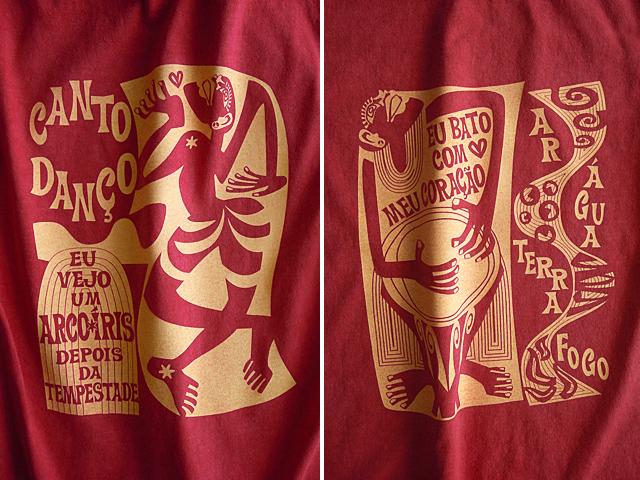 コラサォン(魂)とアルコイリス(虹)Tシャツ-hinolismo-迷えるヴェルメーリョ