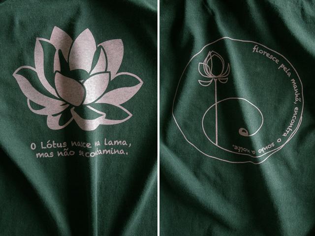 hinolismo迷えるTシャツグリーン-Lotus-ロータス、泥より出づるも泥に染まらず