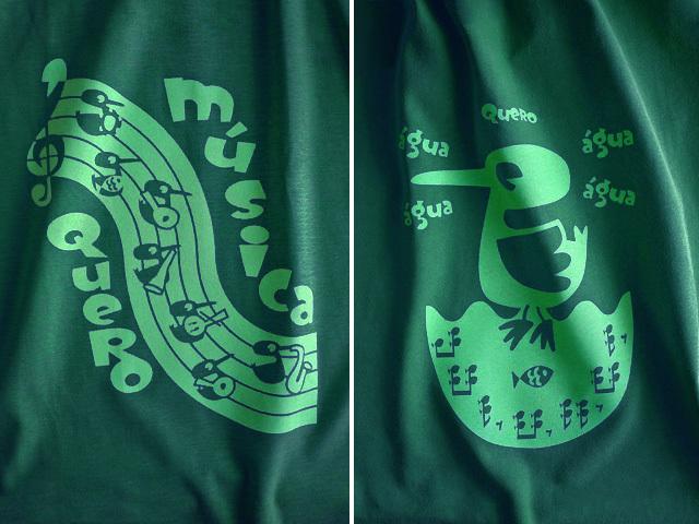 Quero Musica(音楽がほしい)Tシャツ-hinolismo-迷えるグリーン