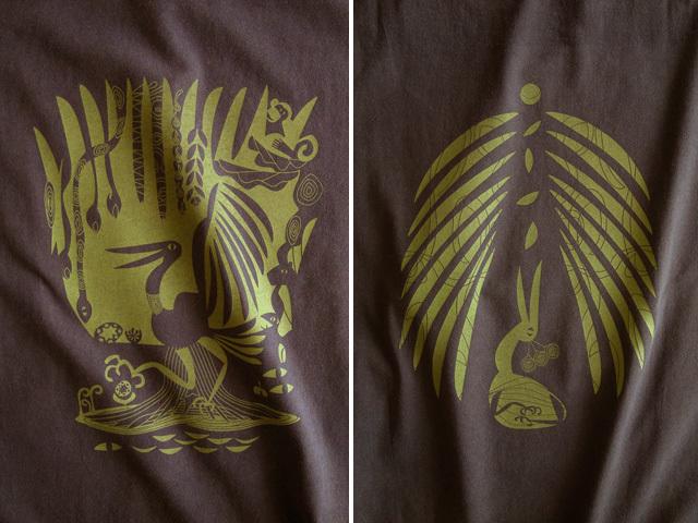 森の細胞Tシャツ-hinolismo-迷えるブラウン