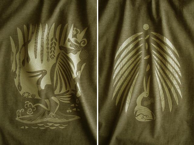 森の細胞Tシャツ-hinolismo-迷えるカーキ
