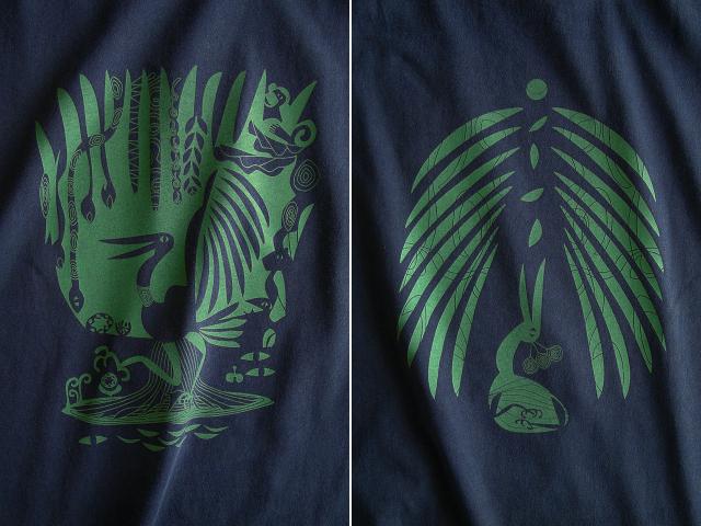 森の細胞Tシャツ-hinolismo-迷えるネイビー