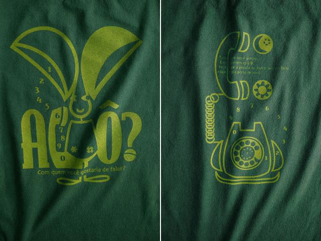 オレリャォンと黒電話Tシャツ-hinolismo-迷えるグリーン