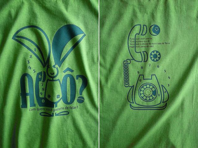 オレリャォンと黒電話Tシャツ-hinolismo-迷えるライムグリーン