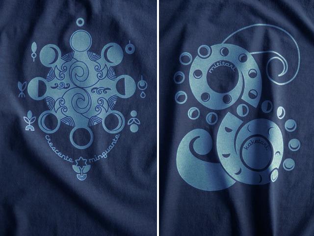 Lua(ルア)-月の満ち欠けTシャツ-hinolismo迷えるネイビー