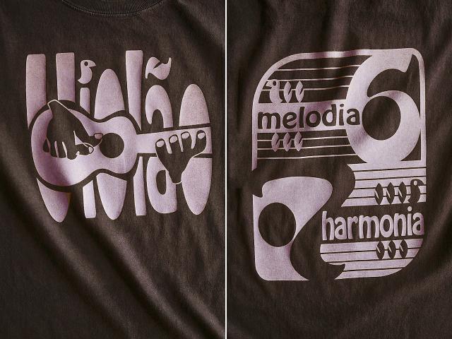 ヴィオロン(ギター)6弦と7弦Tシャツ-Melodia e Harmonia-hinolismo-迷えるブラウン