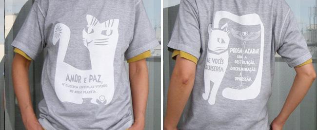 hinolismo-わたしたちの惑星に住み続けるなら愛と平和を-gato(ネコ)-Tシャツ-半袖ウスズミ